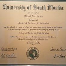 1993 USF MBA Michael S Novilla Diploma