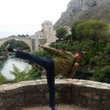 2015 09-27 Michael S Novilla doing sidekick in Mostar Bosnia