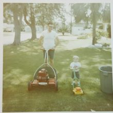 1969 07-01 Michael F Novilla and Michael S Novilla mowing lawn 8212 35 avenue north st. pete