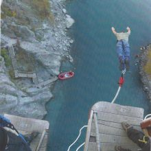 2004 04-24 New Zealand Michael S. Novilla bunging jumping off Kawarau Bridge