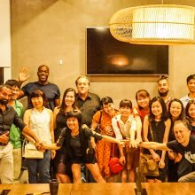 2018 05-10 Entrepreneur Social Club with founder Michael S Novilla Hanoi Vietnam - group photo michael holding hands